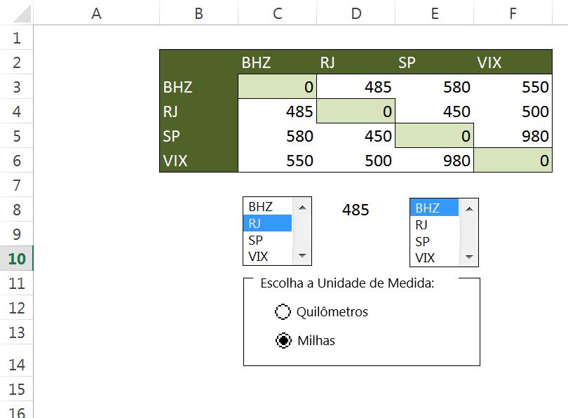 IMPORTANTE: Como os dois botões de opção estão dentro da mesma caixa de grupo, estão no mesmo contexto. Portanto, basta vincular um deles a alguma célula para que possamos utilizá-los na fórmula que virá adiante.