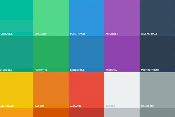 O site http://flatuicolors.com/ mostra uma paleta sugestiva para Flat Design