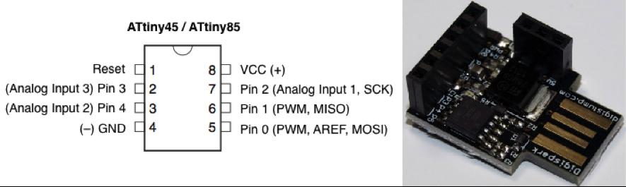 Figura 1 – Microcontrolador Attiny85 (à esquerda). Sistema embarcado Digispark (à direita).