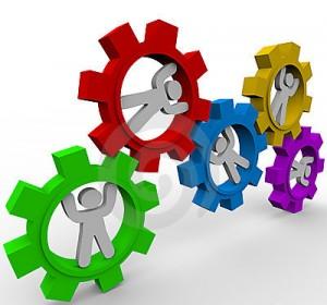 Figura 7: Todos da equipe trabalhando engrenados a fim de alcançar o mesmo resultado.