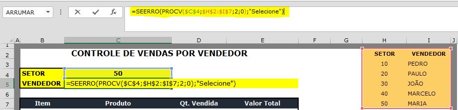 De acordo com uma lista de nomes e selecionando o código do vendedor, irá ser exibido o nome do mesmo.
