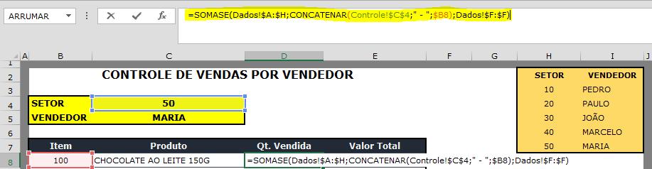 """Nesta fórmula unimos o """"código do setor"""" e o """"código do item"""", para buscar a informação na tabela de dados e somar as """"quantidades"""" vendidas por item."""