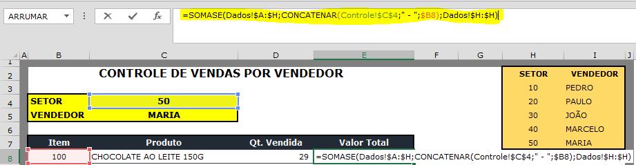 """Nesta fórmula unimos o """"código do setor"""" e o """"código do item"""", para buscar a informação na tabela de dados e somar """"valores vendidos"""" por item."""
