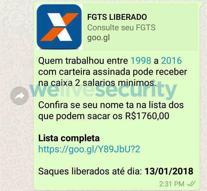 Figura - WhatsApp FGTS Liberado