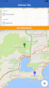 Figura - Simulação do aplicativo de transporte Minimum Way Rio de Janeiro