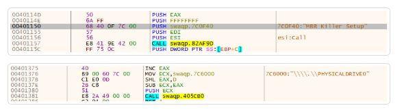 """Figura - O malware nomeado """"MBR Killer"""" (em amarelo) e abaixo um snippet mostrando a rotina de limpeza do disco"""