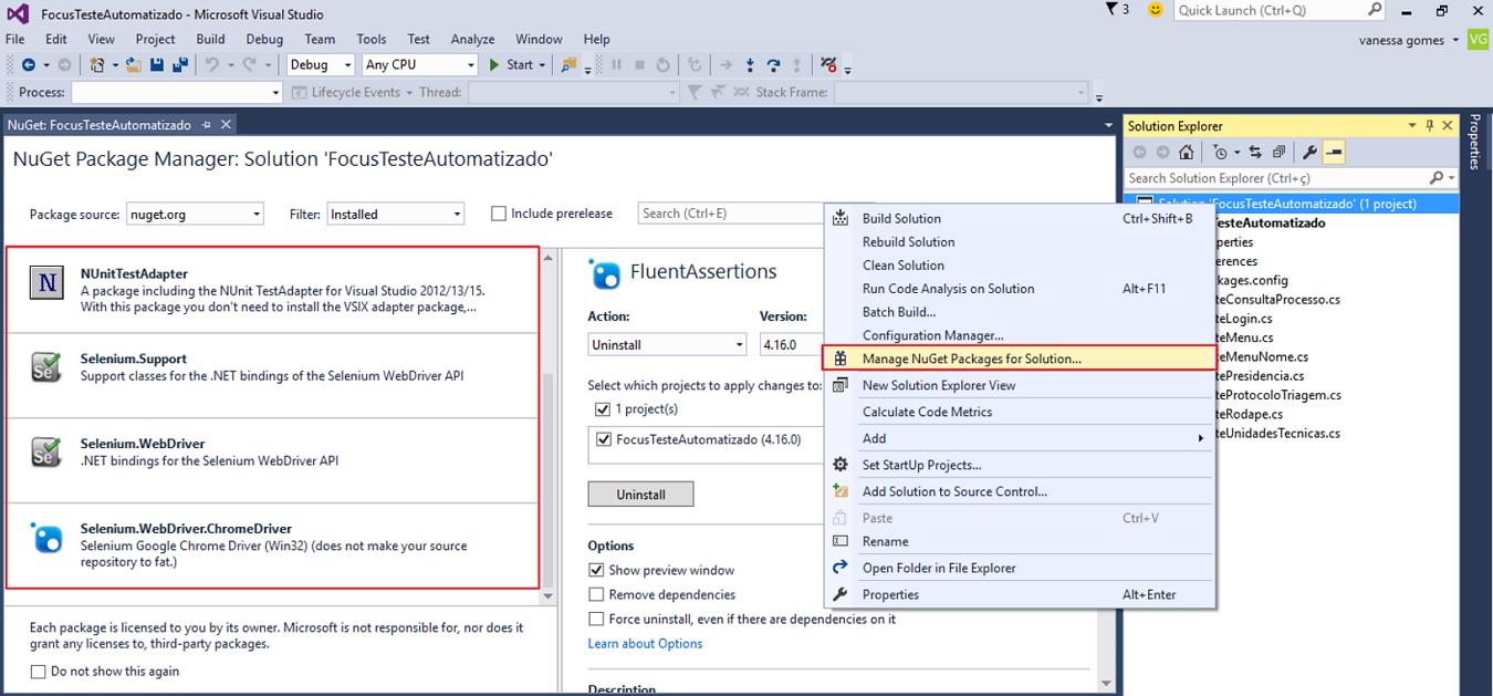 Teste automatizado – Selenium Webdriver com Visual Studio